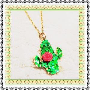 🛍 {Claire's} Flowering cactus goldtone necklace